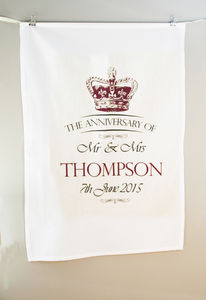 Personalised Crown Mail Anniversary Tea Towel Cotton - tea towels