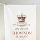 Personalised Crown Mail Anniversary Tea Towel Cotton