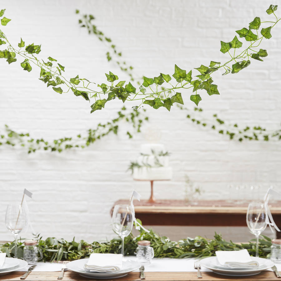 Botanical ivy wedding and party decorative garland by for Idee deco retro chic