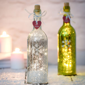 Christmas Sparkle Light Bottles With Snowflake Design - tree decorations