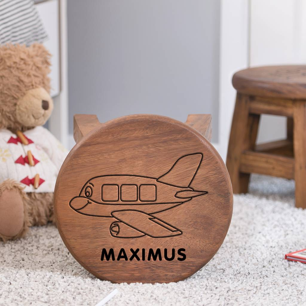 Awe Inspiring Personalised Wooden Stool For Children Aeroplane Theme Machost Co Dining Chair Design Ideas Machostcouk