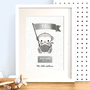 Personalised Monkey New Baby Art Print With Silver Foil