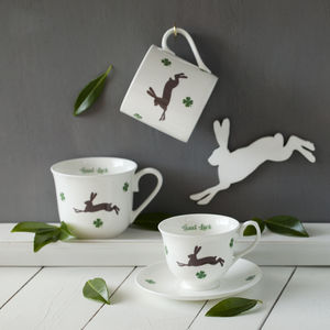 Personalised Lucky Hare Bone China Mug Or Cup - tableware