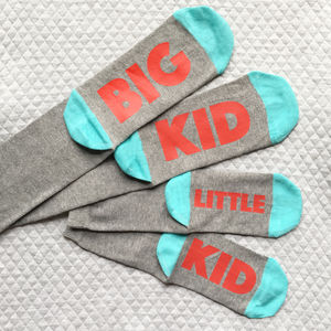 Personalised Big Kid And Little Kid Matching Socks Set - children's dad & me sets