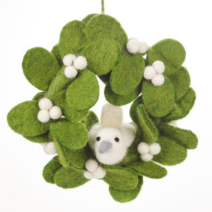 Handmade Felt Mistletoe Mini Wreath With Dove