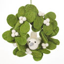 Handmade Felt Christmas Mistletoe Mini Wreath With Dove