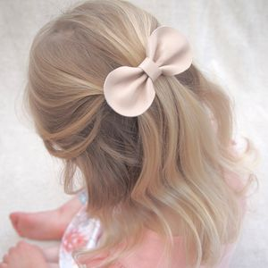 Girls Leather Bow Hair Clip Ballet Pink