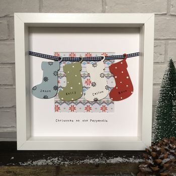 Personalised Christmas Family Snowflake Stockings Frame