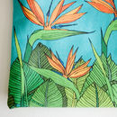 Tropical Bird Of Paradise Lined Cotton Cosmetics Bag