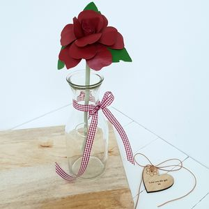 Handmade Leather Red Rose 3rd Anniversary In Vase