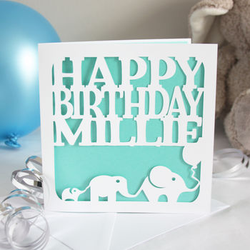 Elephants Personalised Birthday Card