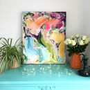 Multicoloured Abstract Painting Bright Linen Canvas