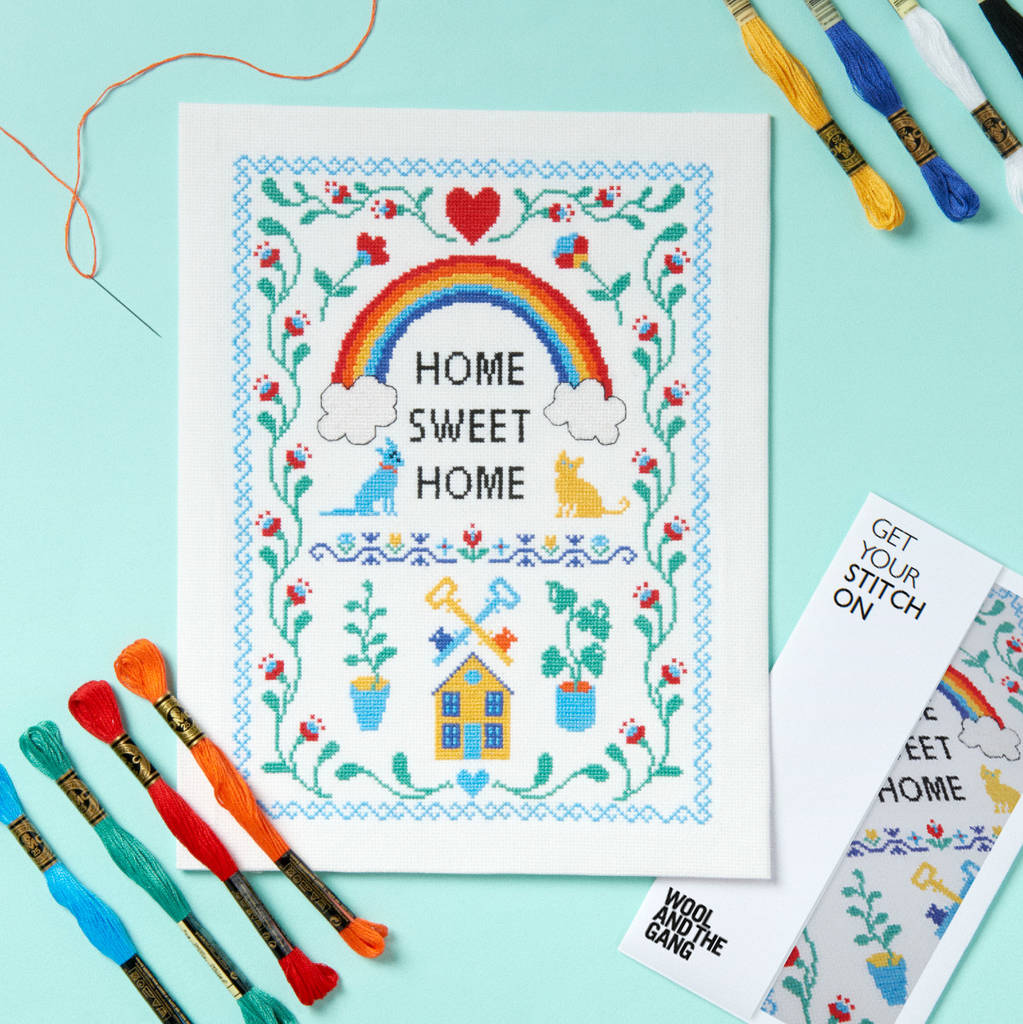 home sweet home cross stitch kit by wool and the gang by