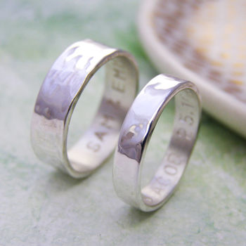 Personalised Silver His And Hers Rings