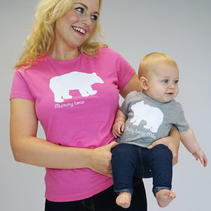 Personalised Mummy And Baby Polar Bear Set - clothing