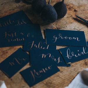 Navy Place Card Feat. Modern Calligraphy