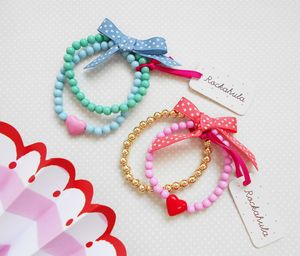 Colour Block Heart Bracelet Set
