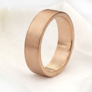 5mm Flat Wedding Ring, 18ct Rose Gold - rings