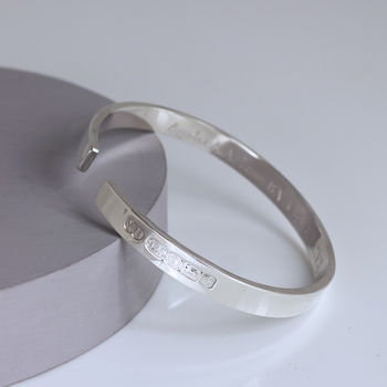 Mens Sterling Silver Personalised Bangle Free Engraving