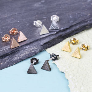 Tiny Brushed Triangle Earrings - stylish studs