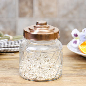 Glass Copper Kitchen Storage Jar With Lid - jars