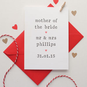 Personalised Parents Of The Bride Or Groom Card - wedding thank you gifts
