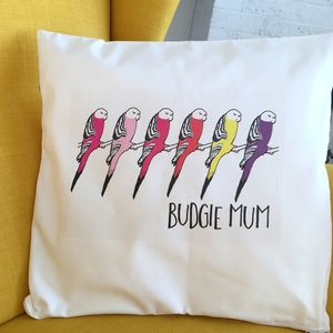 'Budgie Mum' Budgie Cushion Cover