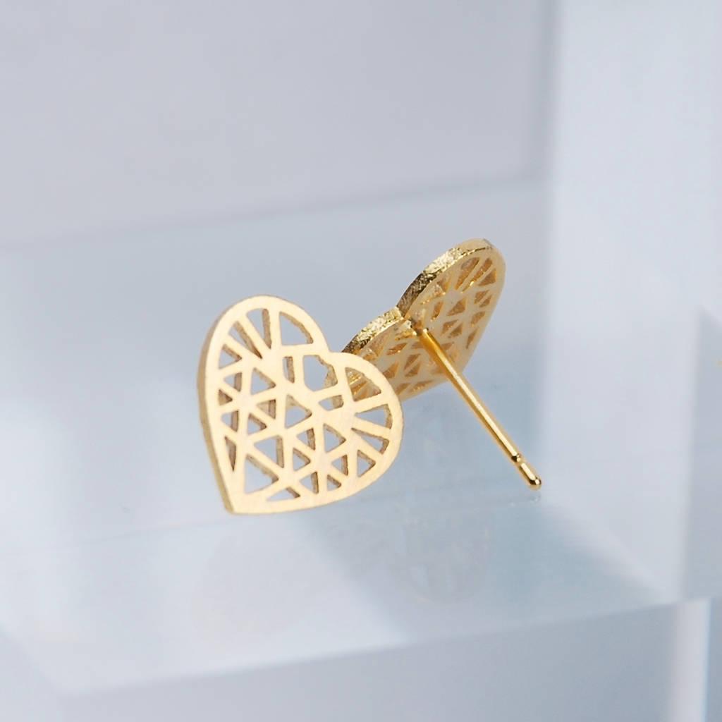Geometric Heart Stud Earrings Gold