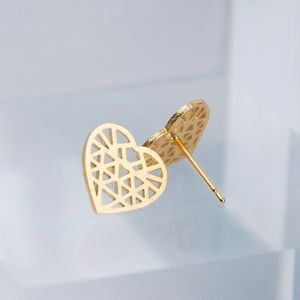 Geometric Silver Or Gold Heart Stud Earrings