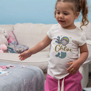 Glitter Mermaid Personalised Girl T Shirt