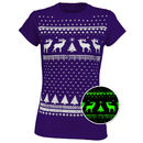 Womens Glow In The Dark Christmas Reindeer T Shirt