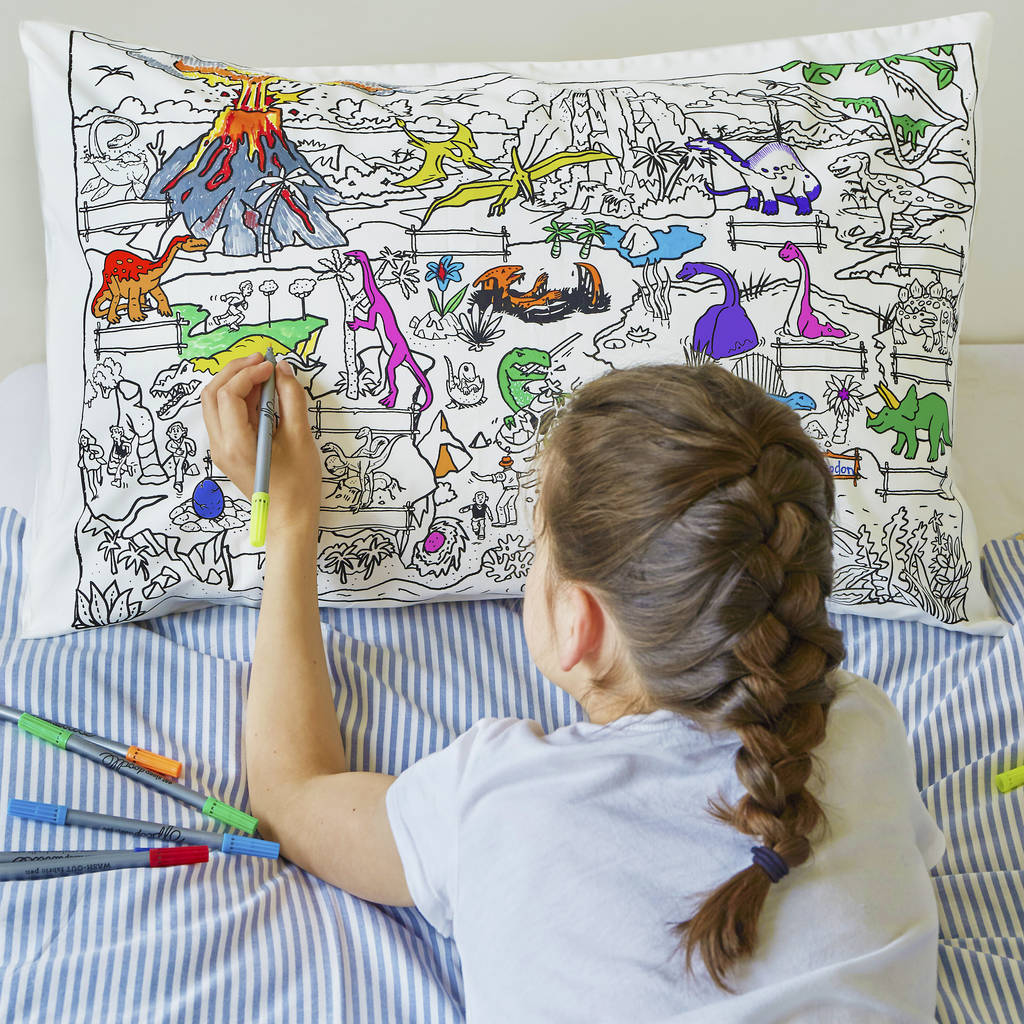 Colour In And Learn Dinosaur Pillowcase By Eatsleepdoodle
