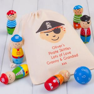 Children's Wooden Pirate Skittles And Personalised Bag - traditional toys