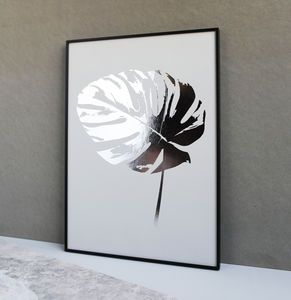 Metallic Monstera Leaf Botanic Print - nature & landscape