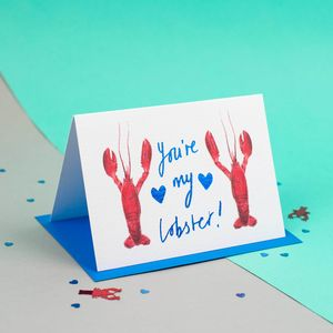 'You're My Lobster' Foiled Illustrated Card - valentine's cards