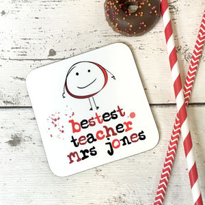 'Bestest Teacher' Personalised Wooden Coaster Gift - placemats & coasters