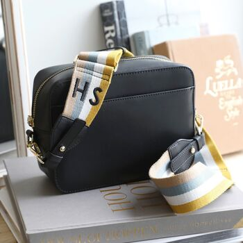 Black Leather Crossbody Bag With Personalised Strap