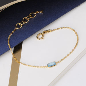 Blue Topaz Gemstone Bracelet In 18ct Gold Vermeil - gold bracelets