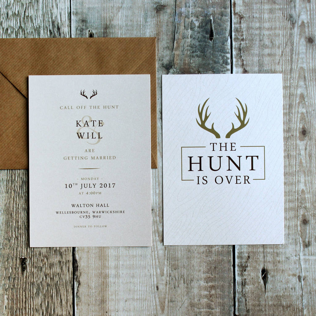 The hunt is over stag pocket wedding invitation suite by vanilla the hunt is over stag pocket wedding invitation suite monicamarmolfo Choice Image