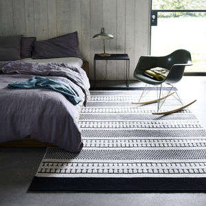 Belle Black And White Patterned Rug - rugs & doormats