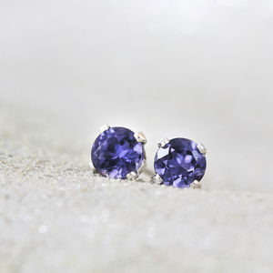 Iolite Gemstone Stud Earrings
