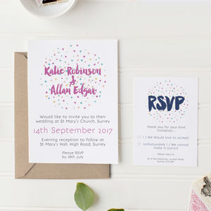 Confetti Wedding Stationery Set - invitations