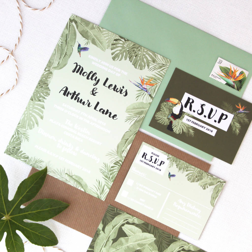 Tropical Wedding Invitations: Tropical Wedding Invitation By Love Paper Wishes