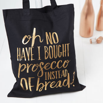Black And Copper Prosecco Tote Shopping Bag