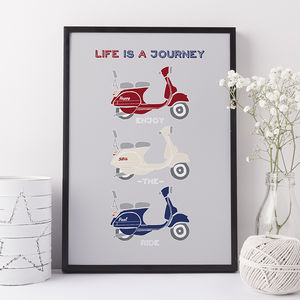 Personalised Retro Vespa Scooter Print