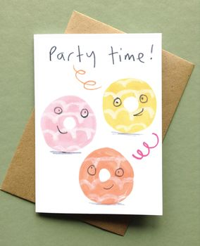 Party Time Birthday Card Party Rings Biscuits Card