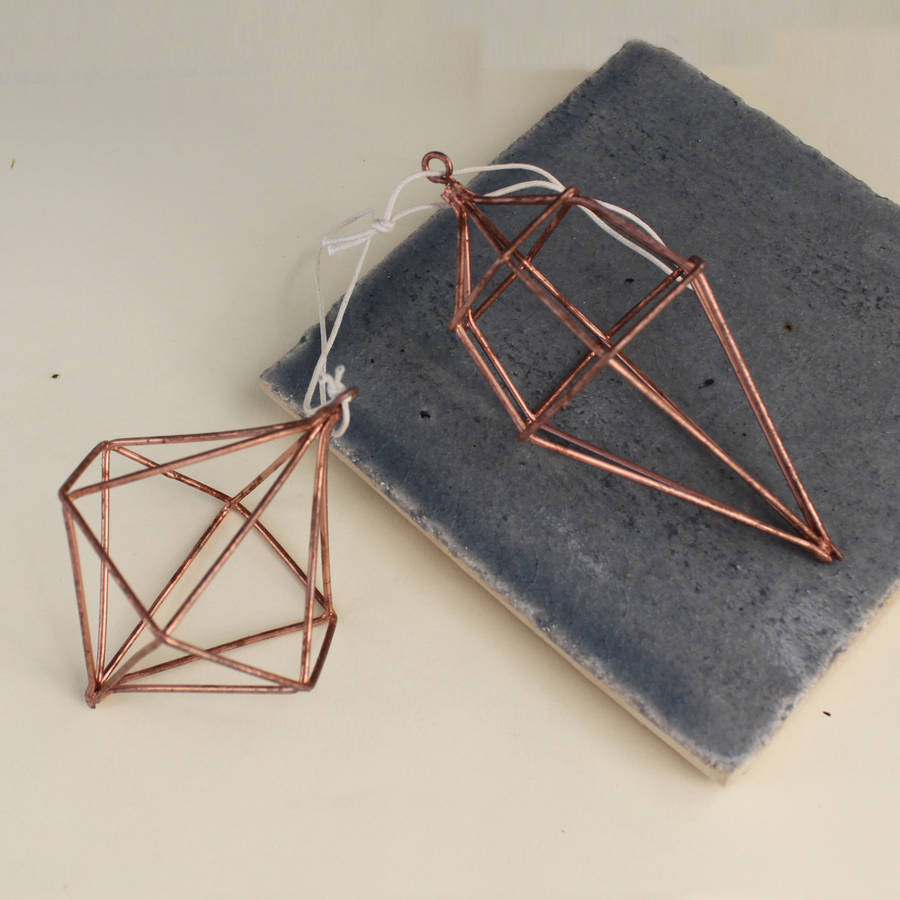 Pair Of Copper Wire Diamond Decorations