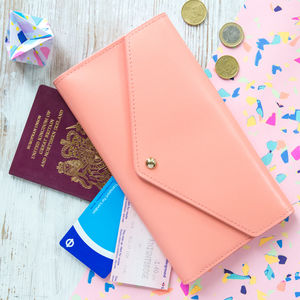 Personalised Leather Travel Wallet - womens