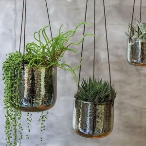 Aged Emerald Hanging Planter