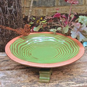 Bird Bath With Poetry Rim With Handmade Bird Sculpture - birds & wildlife